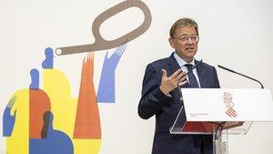 El president Ximo Puig en uno de los actos previos de las celebraciones del 9 d'octubre