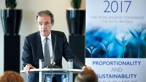 El presidente de CaixaBank, Jordi Gual, durante la conferencia anual de la Agrupación Europea de Cajas de Ahorro y Bancos Minoristas.