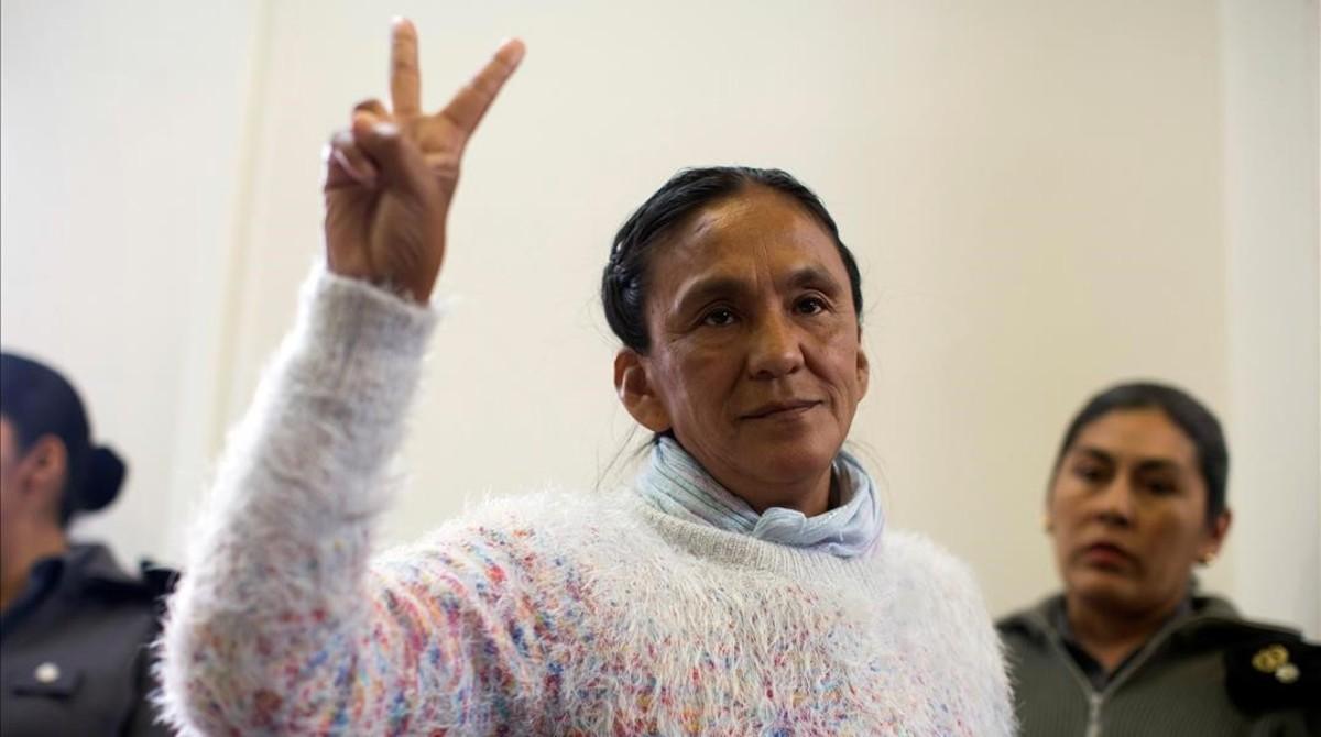 La activista indígena Milagro Sala durante el juicio.