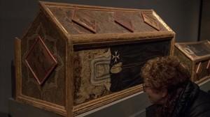 Una de las cajas sepulcrales de Sijena que custodia el Museu de Lleida.