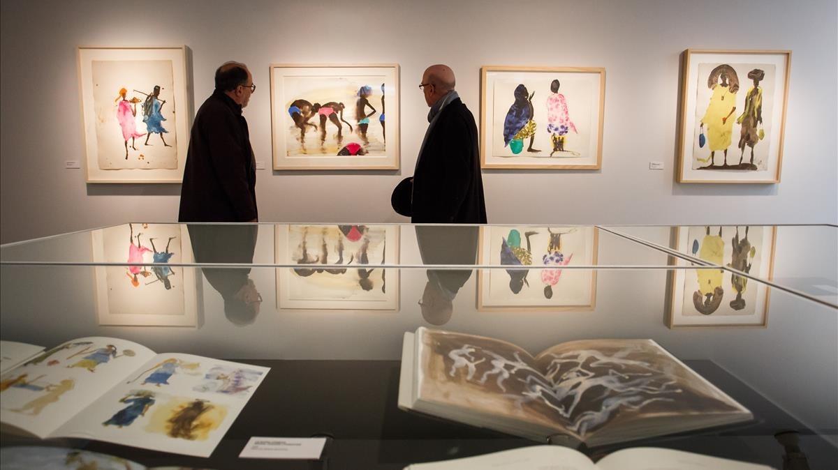 Apuntes al natural con acuarelacon escenas de Malí, en la muestra dedicada a Miquel Barceló en la Fundació Palau.