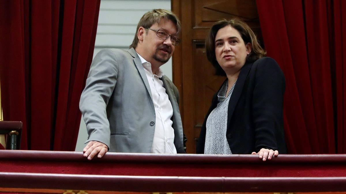 Xavier Domènech y Ada Colau en el Congreso de los DIputados.