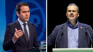 Los secretarios generales del PP, Teodoro García Egea, y de Vox, Javier García Smith, se reúnen esta tarde en Madrid para abordar la investidura de Juan Manuel Moreno.