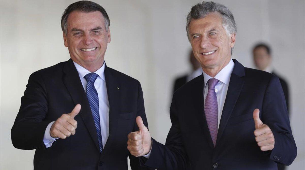 Jair Bolsonaro y Mauricio Macri, el 16 de enero del 2019 en Brasilia.