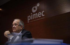 El presidente de Pimec, Josep González, en la rueda de prensa posterior a la Asamblea General de la entidad.