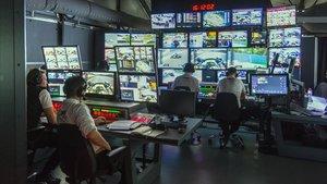 Imagen del centro de control audiovisual del GP de España de F-1, enel circuito de Montmeló.