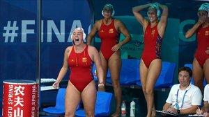 La selección española de waterpolo durante el Mundial de Gwangju en el partido ante Hungría.