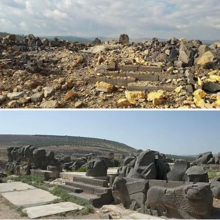 Antes (abajo)y después del templo hitita de Ain Dara, destruido por la aviación turca.