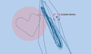 Mensaje del 'Ocean Viking', que ha realizado una ruta en forma de corazón.