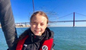 Greta Thunberg a su llegada a Lisboa.