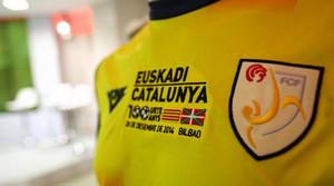 La samarreta de Catalunya, durant la presentació del partit que enfrontarà la selecció catalana i la dEuskadi a San Mamés