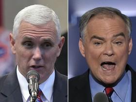 A la izquierda, Mike Pence, candidato a vicepresidente de Trump. Tim Kaine, el candidato de Clinton, a la derecha.