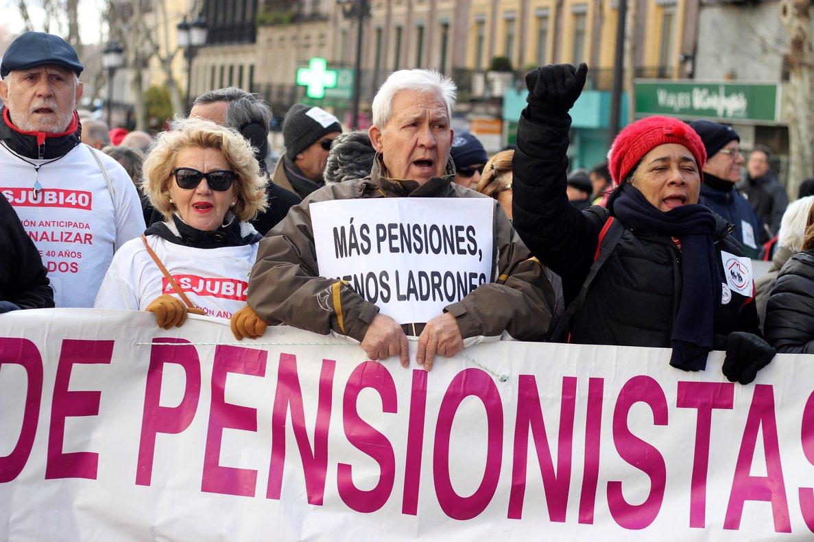 Manifestación de pensionistas en Madrid, este sábado.