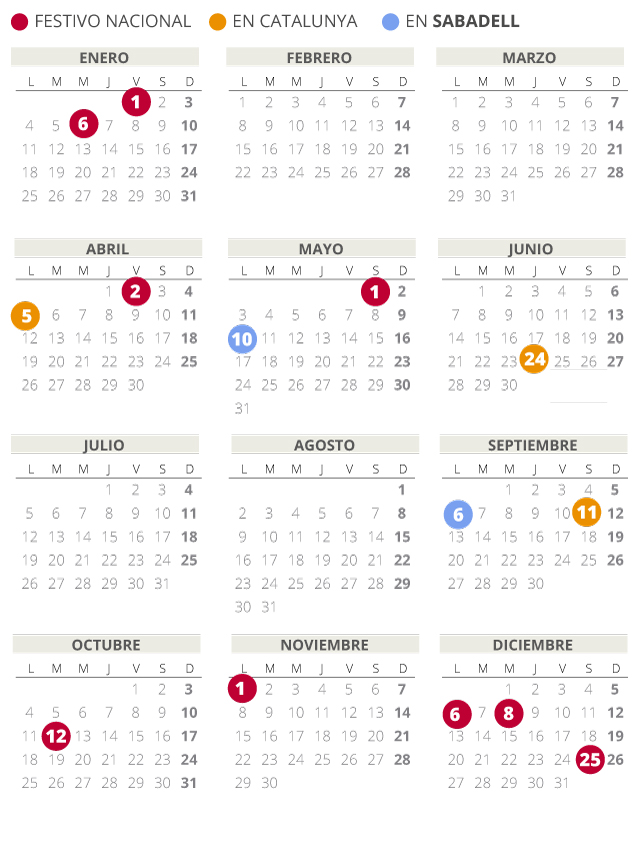 Calendario laboral de Sabadell del 2021 (con todos los festivos)