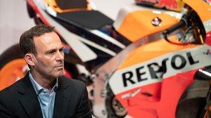 Alberto Puig, responsable deportivo de Honda, en la presentación del equipo en Madrid.
