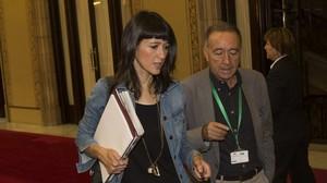 La alcaldesa de Santa Coloma, Núria Parlon, en el Parlament este jueves.
