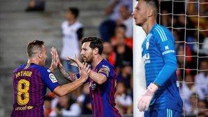 Arthur felicita a Messi despues de que este firmara el tanto del empate en Mestalla.
