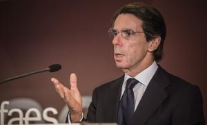Aznar en València durante su intervinción enla clausura deIdeasfaes València.