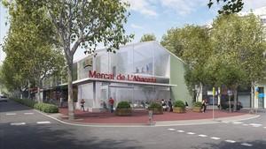 Recreación del futuro mercado provisional de la Abaceria, que se instalará en el paseo de Sant Joan.