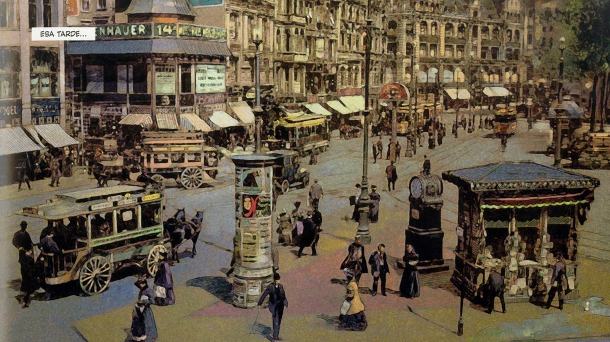 Una de las escenas urbanas de la Alemania de principos de siglo, en el cómic'Barón Rojo', de Carlos Puerta y Pierre Veys.