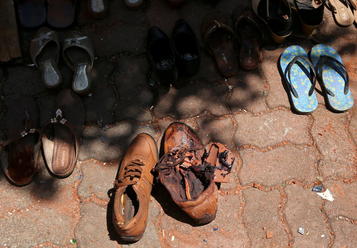 Blood is seen on a pair of shoes at St Sebastian Catholic Church after bomb blasts ripped through churches and luxury hotels on Easter in Negambo Sri Lanka April 22 2019 REUTERS Athit Perawongmetha TEMPLATE OUT
