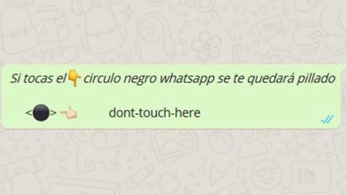 Broma viral Círculo negro, que bloquea Whatsapp.