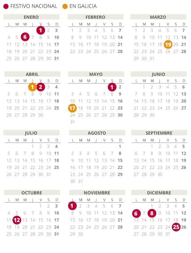 Calendario laboral de Galicia del 2021.