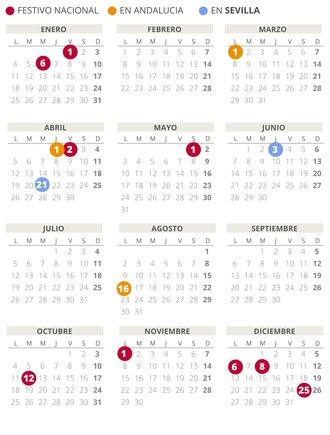 Calendario laboral de Sevilla del 2021.