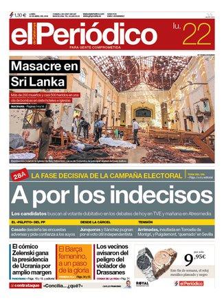 La portada d'EL PERIÓDICO del 22 d'abril del 2019
