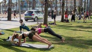 El césped del paseo de la Barceloneta, lleno de gente haciendo deporte.