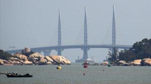 Vista del puente marino más largo del mundo, en China.