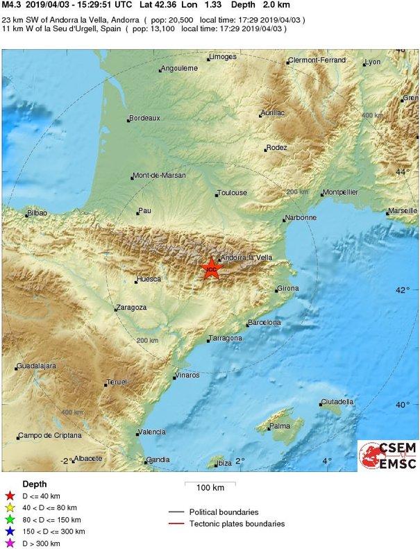 Un terratrèmol de 4,2 graus al Pirineu es nota a tot Catalunya
