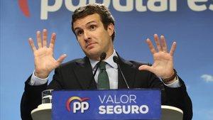 El presidente del PP, Pablo Casado, durante la rueda de prensa tras el 28-M.