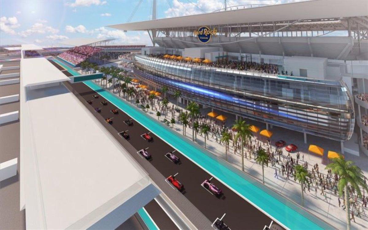Gráfica delestadio Hard Rock y el Gran Premio de Fórmula 1 en Miami.