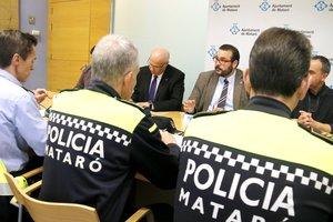 El alcalde de Mataró, David Bote, durante la Junta Local de Seguridad.