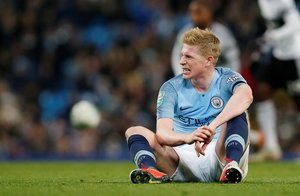 FILE PHOTO: Soccer Football - Carabao Cup Fourth Round - Manchester City v Fulham - Etihad Stadium, Manchester, Britain - November 1, 2018 Manchester City's Kevin De Bruyne after sustaining an injury REUTERS/Andrew Yates/File Photo
