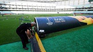 El Estadio Olímpico de Bakú, listo para acoger la final de la Europa League.
