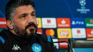 Gennaro Gattuso, en la rueda de prensa del Nápoles-Barça de la ida.