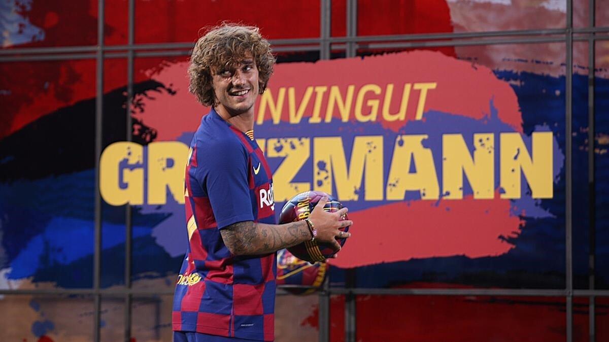 Griezmann, en su presentación en el Camp Nou.