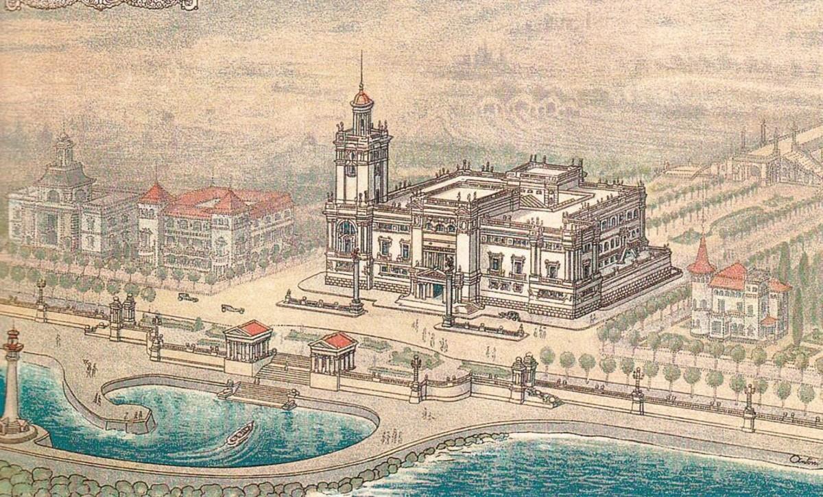 Dibujo del Institut Oceanogràfic de Barcelona, obra de Antoni de Falguera.