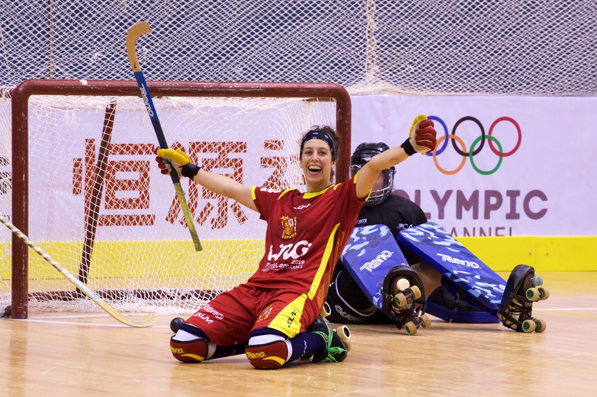 La igualadina Maria Díez, Peke, celebra el último gol de la final.