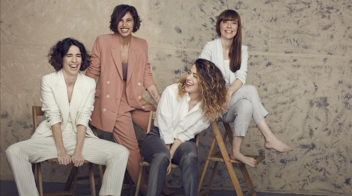 De izquierda a derecha, Mar Coll, Marta Díaz, Andrea Jaurrieta y Elena Trapé, directoras de cine que presentan sus trabajos en el festival de Málaga