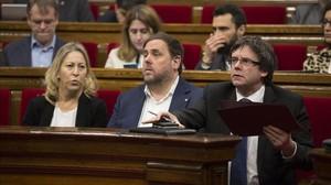 Puigdemont, durante la sesión de control de este miércolesen el Parlament.