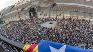 Concentración de la ANC en Barcelona este lunes.