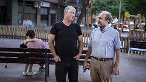 Adalberto y Toni se miran con complicidadeste juevesen Sant Martí.