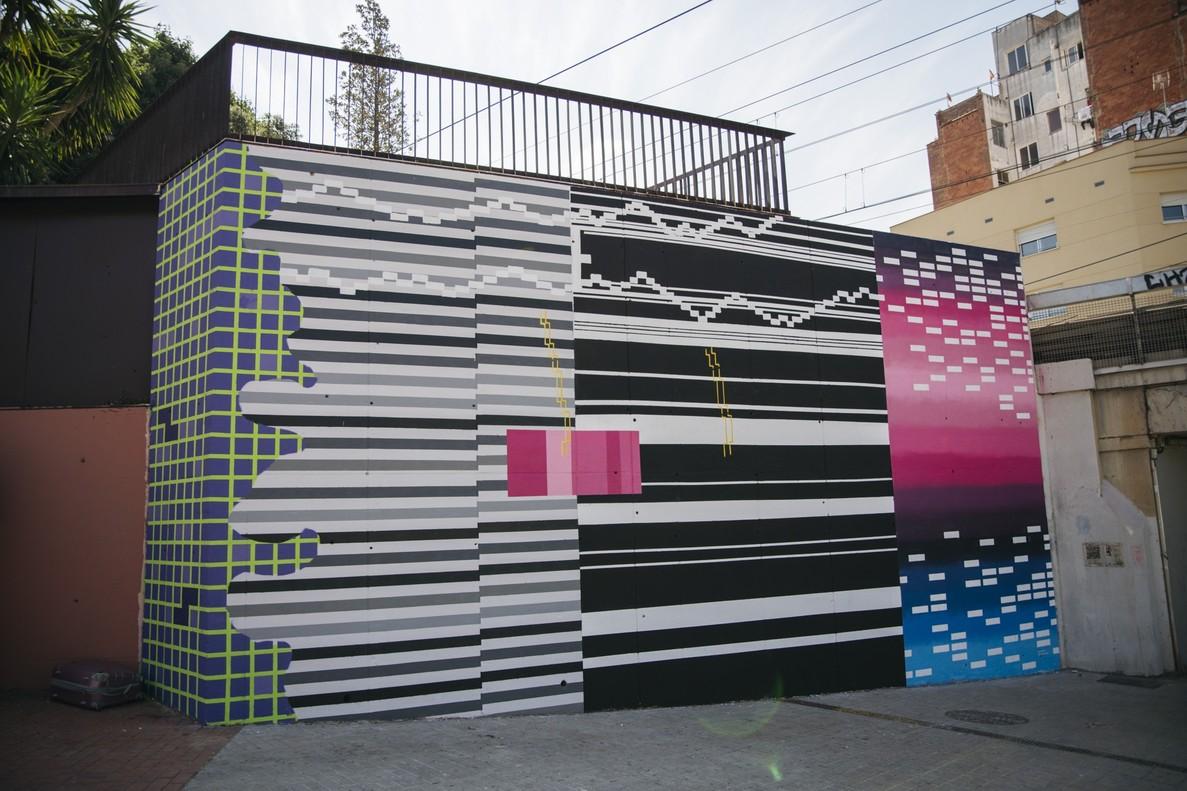Un mural fet de píxels al 12+1 de l'Hospitalet