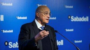 El presidente del Sabadell, Josep Oliu, durante la presentación de los resultados económicos correspondientes al ejercicio 2018.
