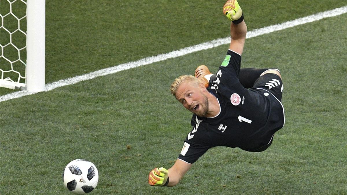 Kasper Schmeichel, en el partido contra la selección de Francia