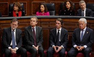 Los expresidentes Rajoy, Zapatero, Aznar y González.