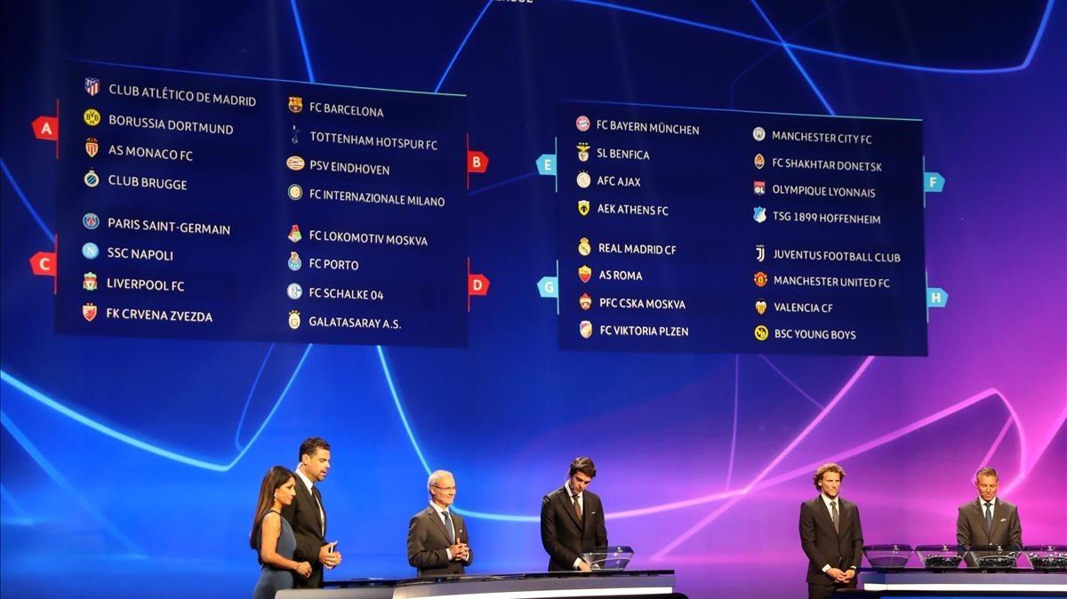 Un panel muestra cómo han quedado los grupos de la primera fase de la Champions, en el Fórum Grimaldi de Mónaco.